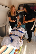 Kirby Leitch, Nurse Placement Supervisor (Aged Care) and Charmi Shah, Project Support Officer LASA Victoria with simulation mannequin